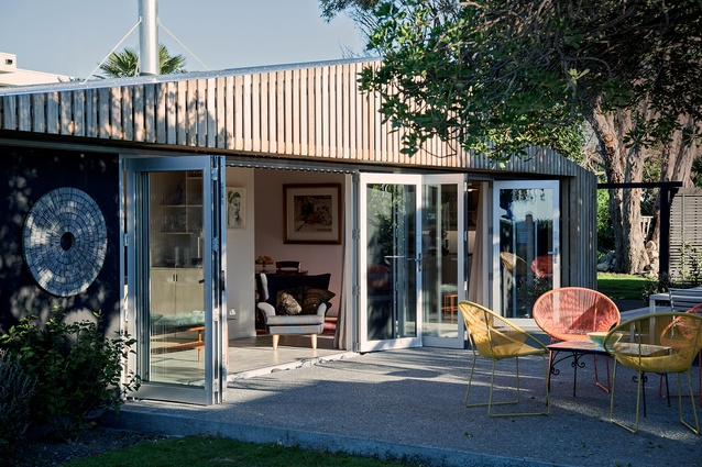 Instead of demolishing King-Roberts House in Hawke's Bay, Atelierworkshop has recycled and rebuilt, creating a thermal-mass slab inside the glazed north-facing addition.