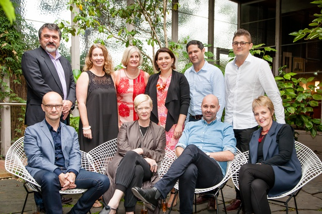 The 2015 AIDA jury. Top row (L-R): John Gertsakis, Joanne Cys, Genevieve Lilley, Sarah-Jane Pyke, Hamilton Wilson and Dan Cox. Bottom row (L-R): Grant Filipoff, Geraldine Maher, Hamish Guthrie and Robyn Lindsey. With thanks to the Robin Boyd Foundation and jury host ISIS.