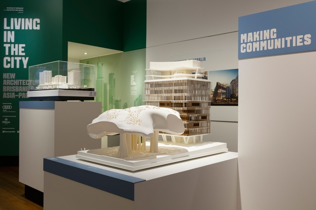 Living in the City exhibition at the Museum of Brisbane featuring a model of 12 Creek Street, Brisbane City by BVN.