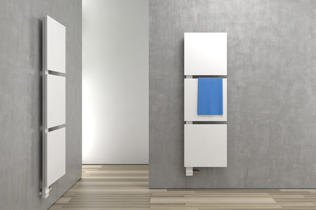Kermis radiator panels keep even large bathroom spaces toasty, while also lending a modernist look to a room.
