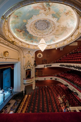 The fully restored theatre retains the original colour palette and includes many of the fixtures and fittings salvaged from earthquake wreckage.