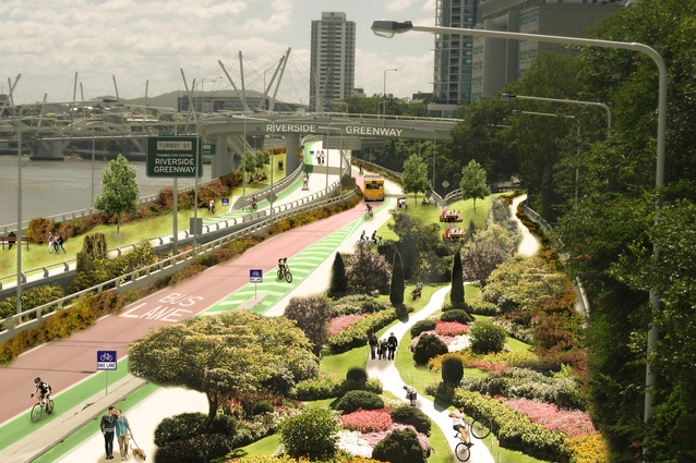 The original Riverside Greenway scheme combined a generous elevated park with dedicated bus lanes and cycle paths.