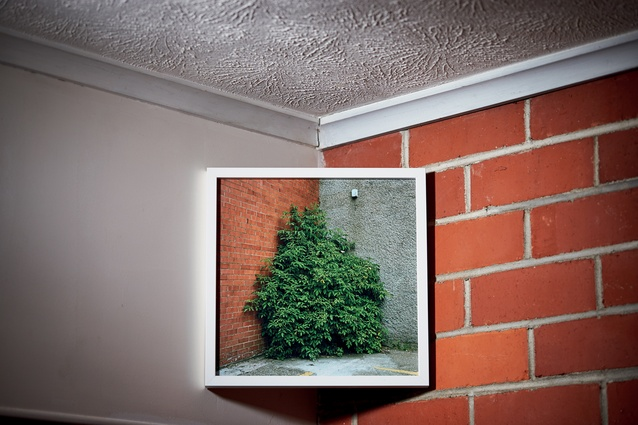 "Sam Hartnett corner photograph. Sam: ""I took that in Scotland; it's a wordplay, I guess. It's of a corner and I hang it in the corner, I find it fun and like how it mirrors the bricks."""