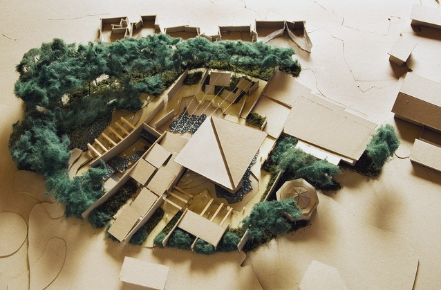 The intertwining of landscape architecture and architecture is captured in one of the many models built during the design stages.