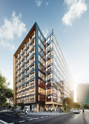 The proposed 5 King engineered timber office tower designed by Bates Smart will feature south-facing a glass curtain wall facade.