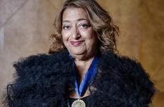 Zaha Hadid accepts her 2016 RIBA Gold Medal
