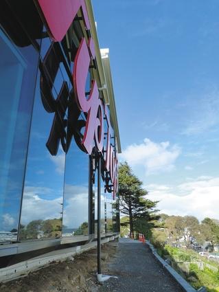 The building's reflective facade.