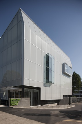 Kathleen Kilgour Centre. Sustainable credentials of the building include energy-efficient lighting, high thermal mass, solar hot water heating and rainwater harvesting.