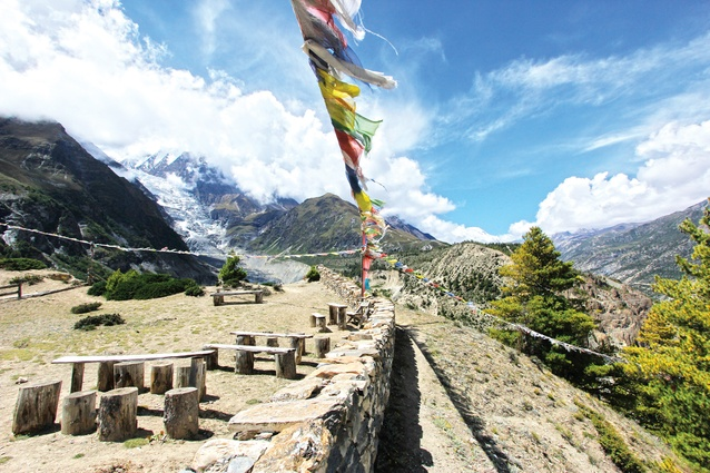 The Annapurna Circuit traces a number of landscape conditions, from lush subtropical valleys to barren mountain passes.