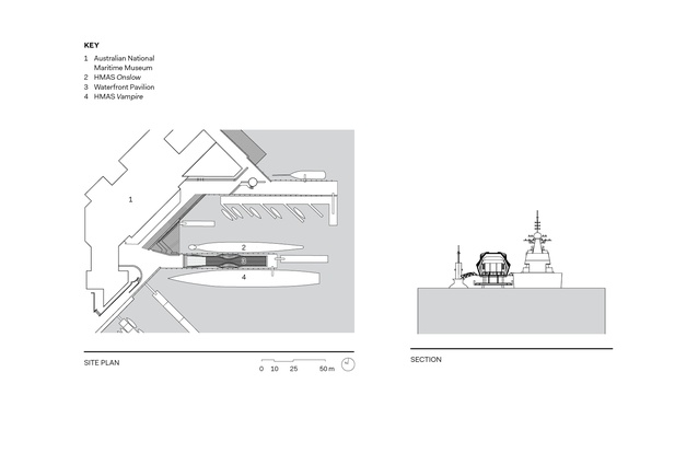 The Waterfront Pavilion site plan and section.