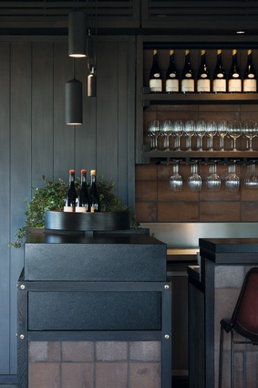 The bar unit is compact but effective its solidity offset for Guthrie dining