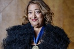 Zaha Hadid accepts her 2016 RIBA Gold Medal