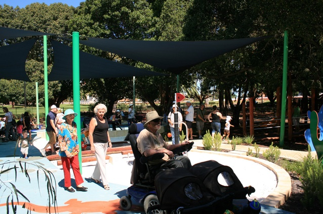 Universal access is provided throughout the playground to accommodate wheelchairs and prams.