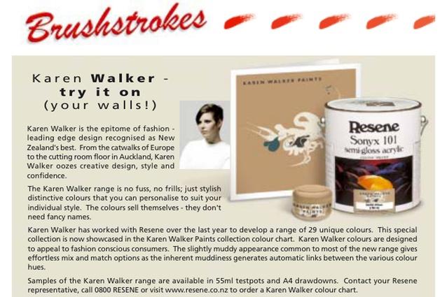 Karen Walker Paints by Resene hits the market in 2001.