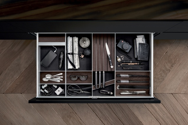 Storage within the INSIDE Kitchen, manufactured by the Germany company SieMatics.