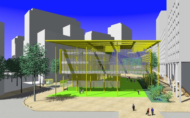 Julian Flannery's proposed performance porch, with canopied community space and children's soft play surface.