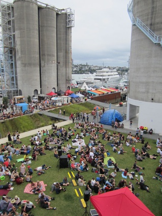 Silo Park and North Wharf during weekend market mode. The park also plays host to St Jerome's Laneway Festival and moonlight cinema.