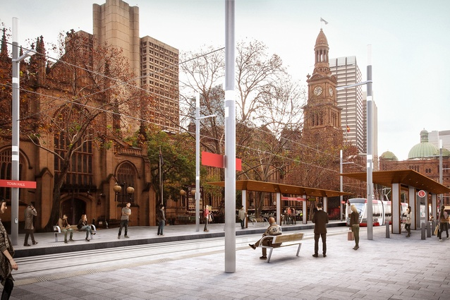 Design of the Sydney CBD and South East Light Rail stop at Town Hall by Grimshaw Architects.