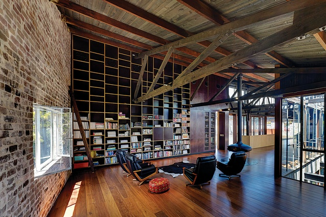 Recycled bricks and timber in the Lilyfield Warehouse.