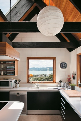 The kitchen window is part of the original architecture and showcases the views from the house of Wellington Harbour and across the bay to Eastbourne.