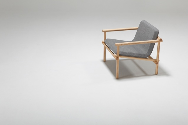 Jamie McLellan's <em>Lumber chair</em> is made from solid ash dowels with a bent ply shell.