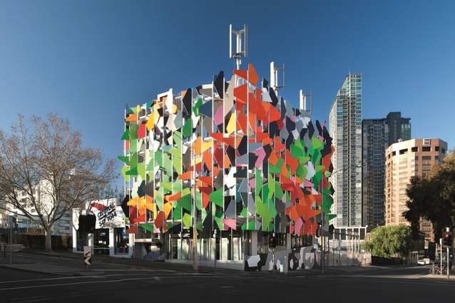 "The overused ""hero shot"" of the Pixel Building, designed by Studio 505."