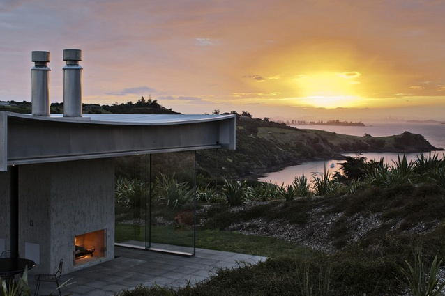 From its hilltop position, this Waiheke residence enjoys the breathtaking sea views.