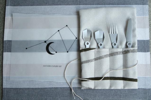 Matariki cutlery set made for Unitec's 'Inside the Aotearoa House' exhibition.