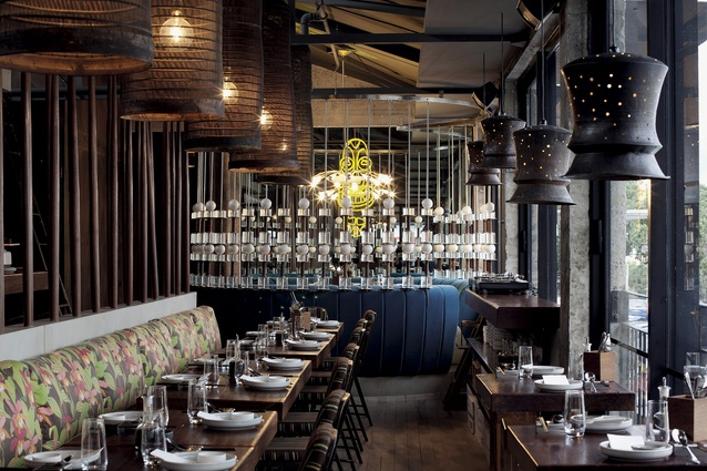The Blue Breeze Inn, a new venture by restaurateur Mark Wallbank designed in collaboration with Paul Izzard Design. The design melds tiki bar-styling with Balinese and Chinese street market influences.