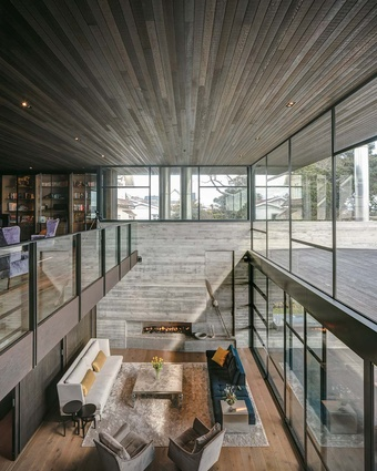 The double height living space.