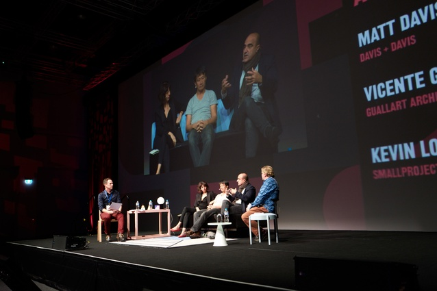 (L–R) Matt Davis, Cristina Goberna, Kevin Low, Vicente Guallart and Greg Mackie on stage at How Soon is Now?