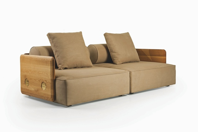 The Deco Sofa is a contemporary take on the rounded forms and generous proportions of an Art Deco lounge.