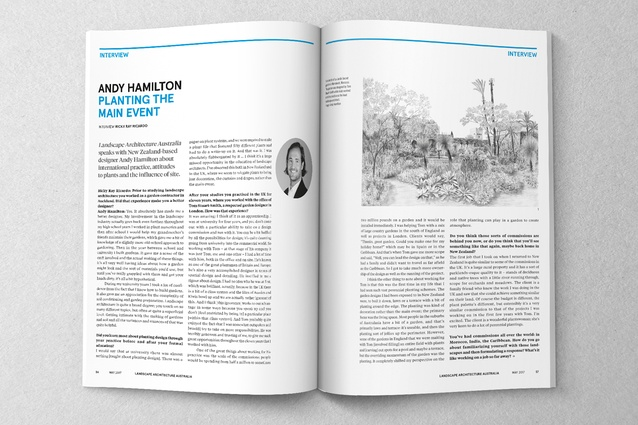 Spread from the May 2017 issue of <i>Landscape Architecture Australia</i>.
