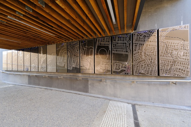 Artwork at the Cardinia Road Railway Station by Lump Studio.