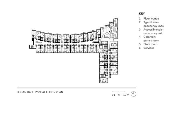 Logan Hall typical floor plan.