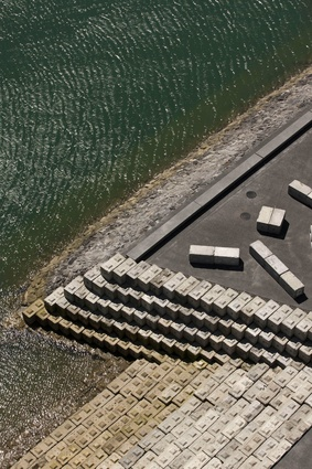 The water stairs utilise recycled concrete blocks from the former cement works located on the site.