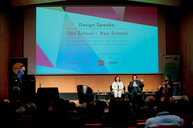 Speakers at the Design Speaks forum – Debbie Ryan from McBride Charles Ryan; Marco Berti, University of Technology Sydney; and Libby Guj, JCY Architects and Urban Designers – line up on stage at the Old School/New School conference.