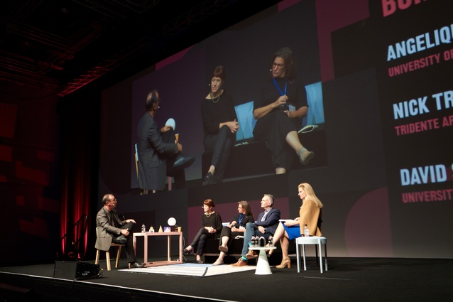 (L–R): Nick Tridente, Maree Grenfell, Trish Hansen, David Sanderson, Angelique Edmonds on stage at How Soon is Now?