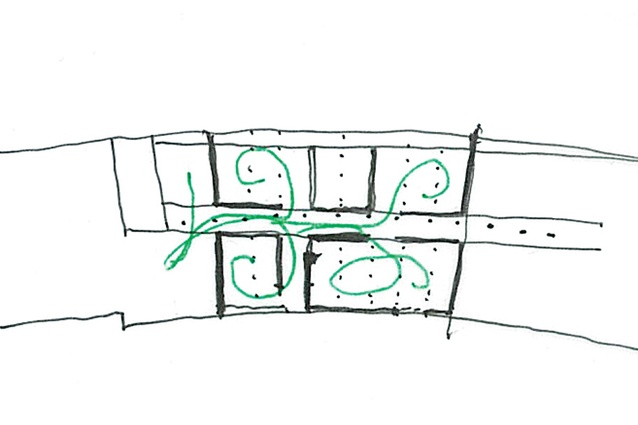 Sketches showing circulation, views and light penetration.