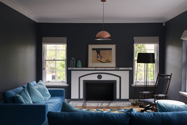 The formal living room was refreshed and retained in the front part of the house.