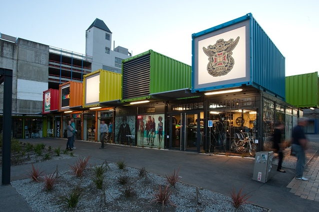 Re:start, a shipping container shopping mall designed by the Buchan Group in Christchurch, NZ after the 2011 earthquake.