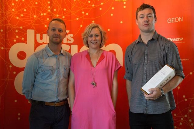 <em>Urbis</em> editor, Kirsten Matthew, with Showroom22's Murray Bevan and BoConcept's Jeff Davoren.