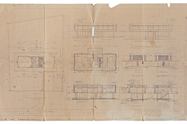 Original 1955 drawings of the house, with the studio on the ground floor and the residence above.