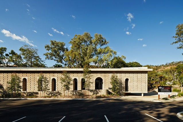 The administration building's exterior shell of grey, concrete block masonry presents a tough persona unlike that of a conventional childcare centre.