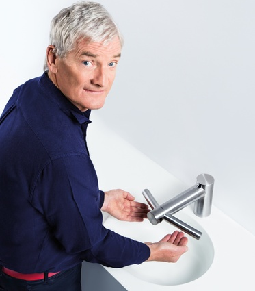 James Dyson demonstrates the Airblade Tap Hand Dryer.