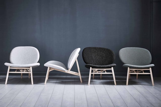 The Matisse chair by Mr Frag features an American ash frame with a shape inspired by an easel, and irregularly shaped seats and backs.