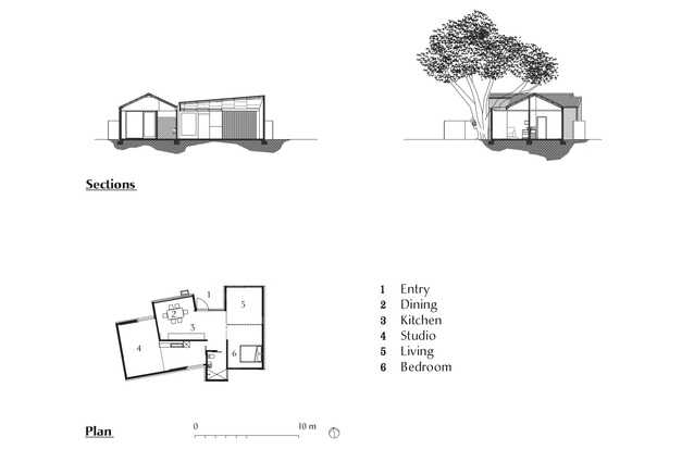 Plan and sections of the Exploding Shed House by David Weir Architects.