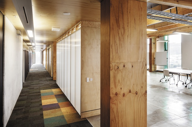 The main circulation corridor opens directly 