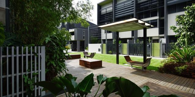 The design employs the Queensland vernacular of the timber deck as a social space throughout. Decks 'float' over the ground plane, into and out of built forms, blurring the aesthetic and functional distinction between buildings and landscape, between living, work and play.