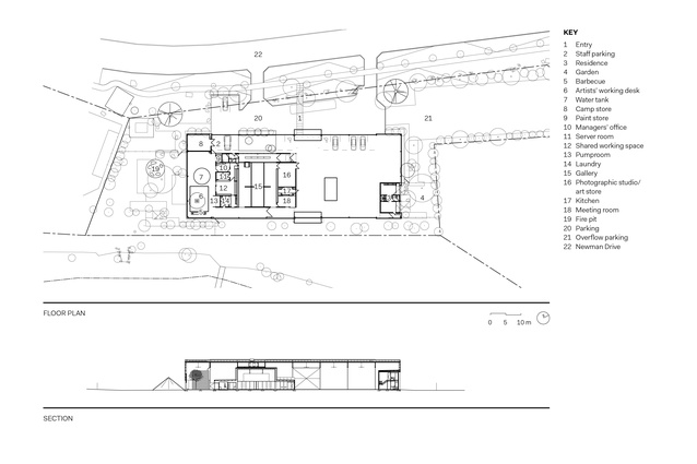 East Pilbara Arts Centre floor plan and section.
